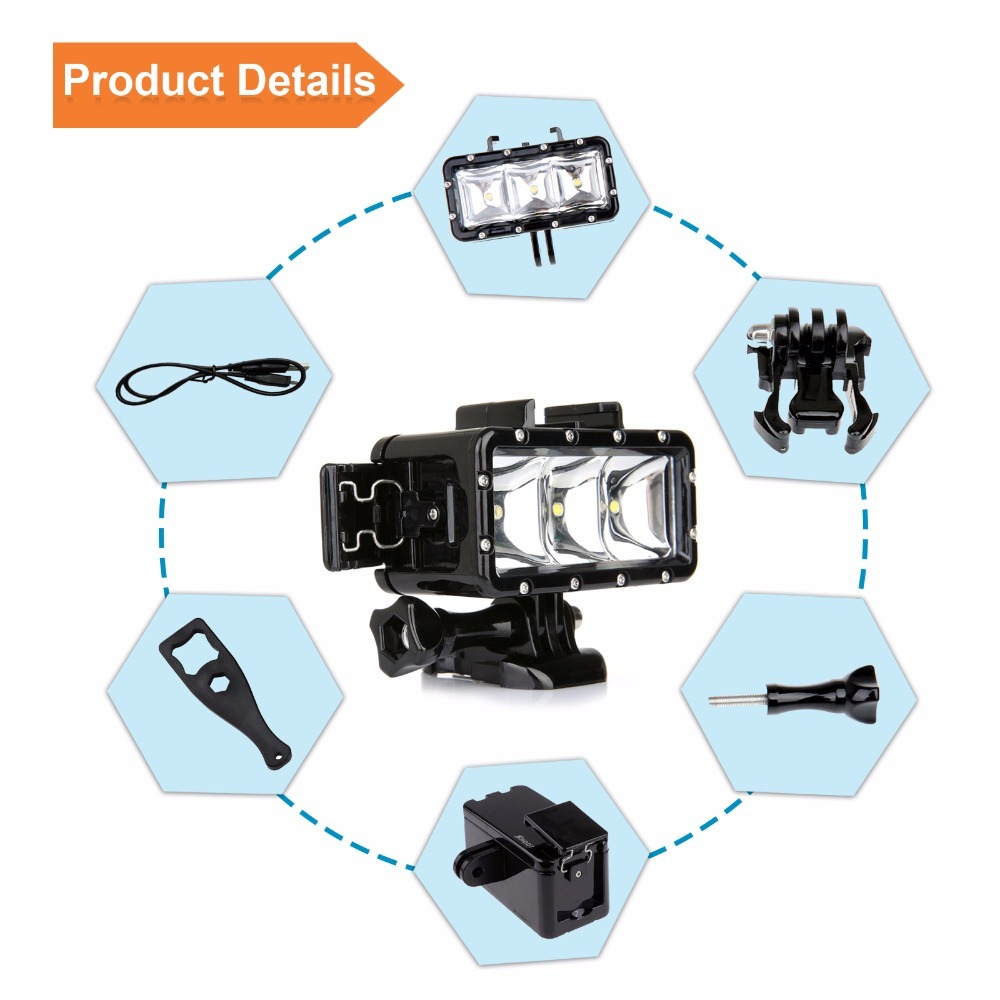 SHOOT XTGP253 Waterproof 30m Diving Light Dimmable LED Underwater Fill Light for GoPro Hero SJCAM XiaoMi Yi Action Cameras
