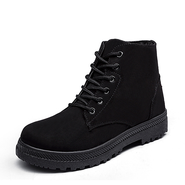 US Size 5-13 Short Boots Women Lace Up Suede Casual Soft Outdoor Flat