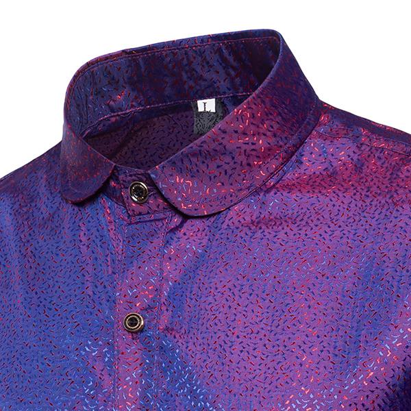 6dee7c74aebf9 mens bright nightclub turn-down collar purple designer shirt at Banggood