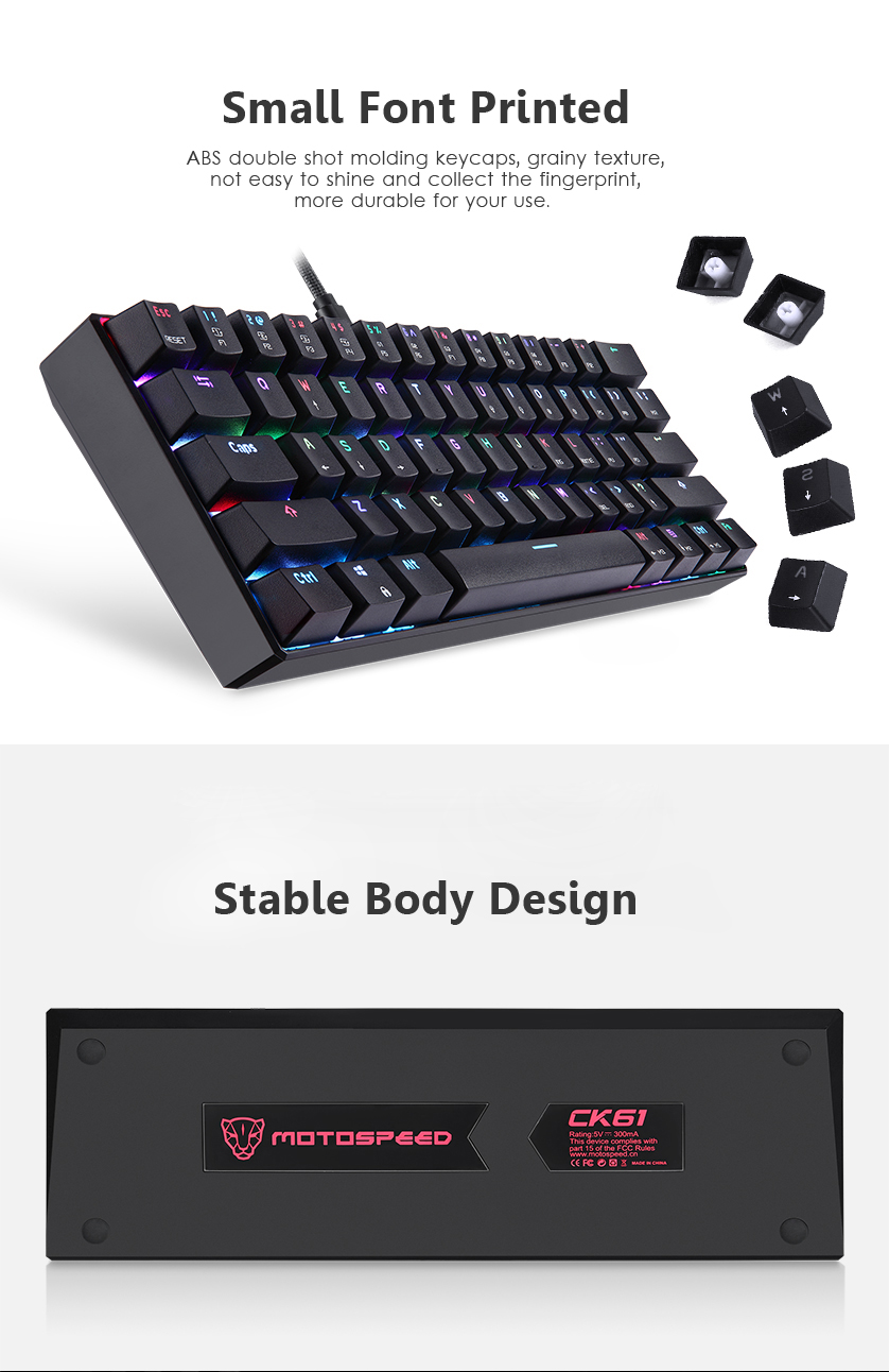 Motospeed CK61 Kailh BOX Switch Detachable Type-C 61-Key NKRO RGB Mechanical Gaming Keyboard