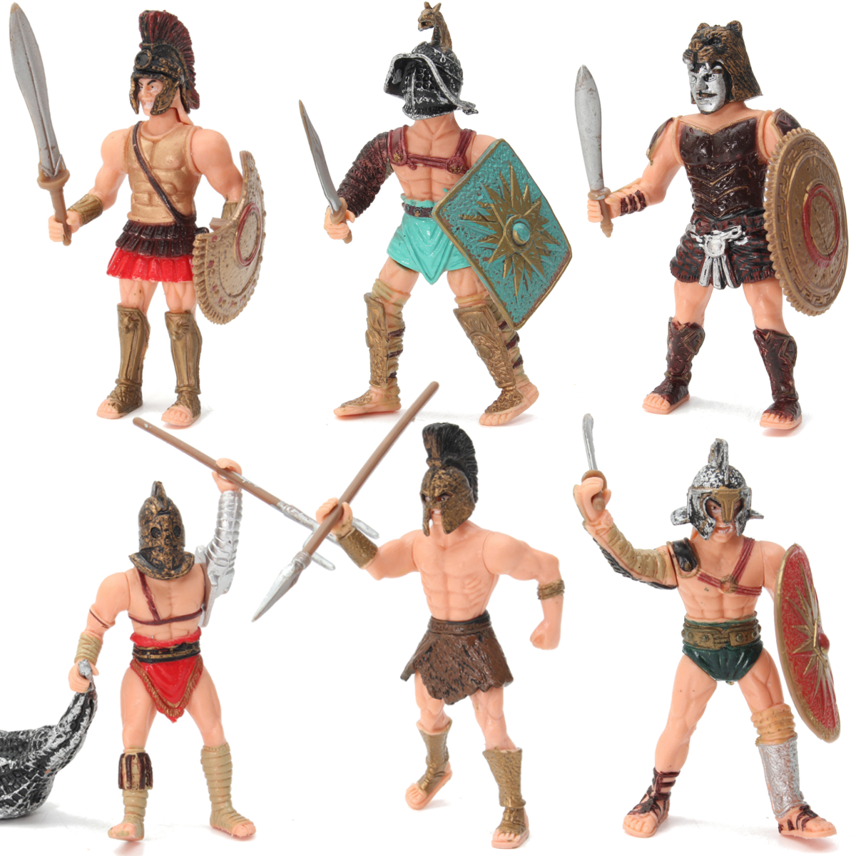 6Pcs DIY Gladiator Warrior Fighter Roman Soldier Action Figure Playset Weapons Gift Military Scenes