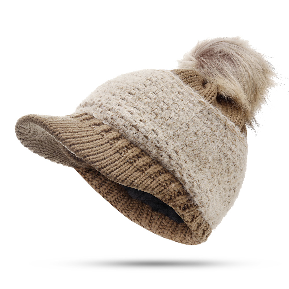 Women Outdoor Fashion Thickened Warm Knitted Hat Knit Cap