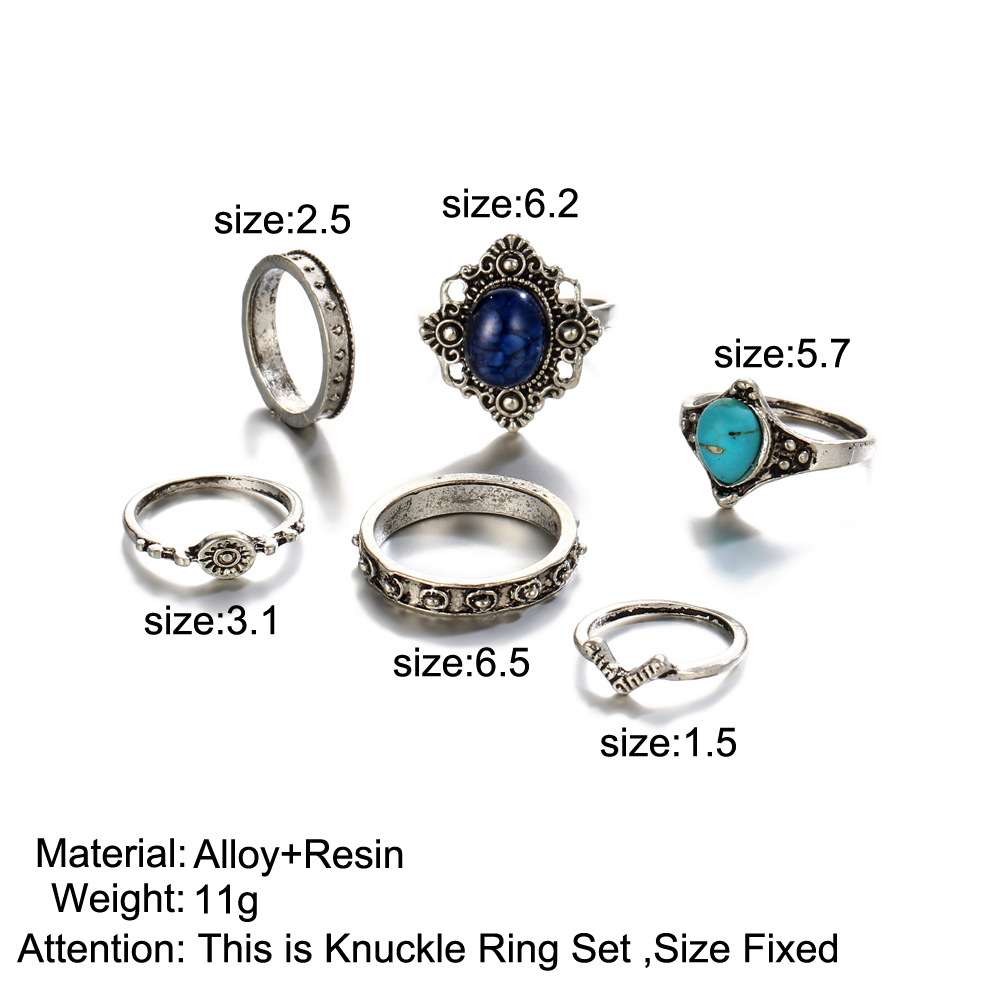Trendy Women Gemstone Knuckle Rings Mix Finger Midi Ring Set