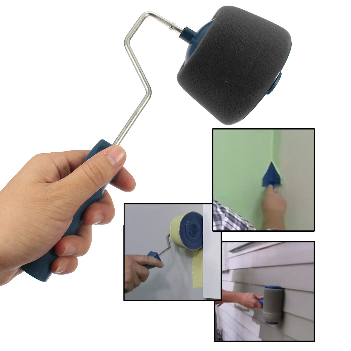 8Pcs DIY Painting Tool Blue Wall Paint Roller Handle Paint Brush Wall Painting Tool