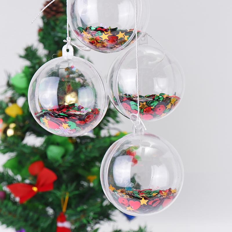 6PCS Christmas Party Home Decoration 5CM Sequin Transparent Ball Bauble Ornament Kids Children Gift