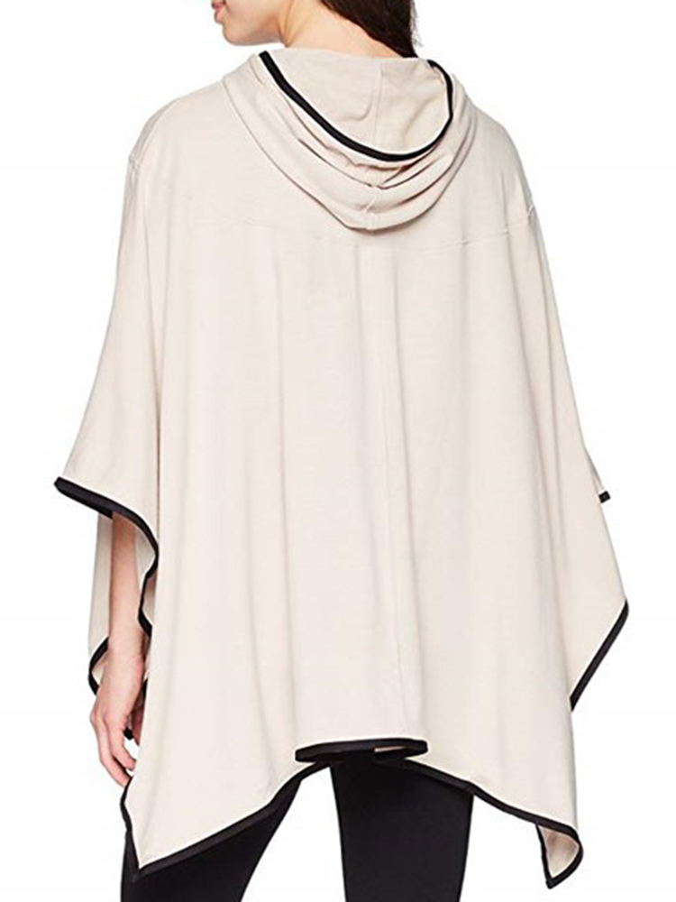 Plus Size Women Casual Loose Asymmetric Hem Cloak Hoodies