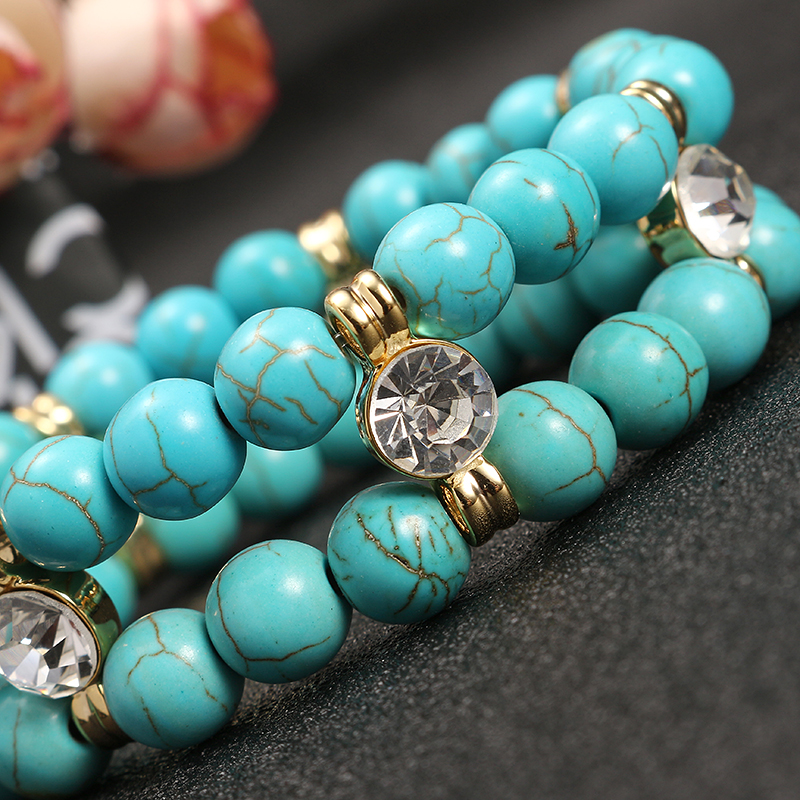 JASSY® Antique Turquoise Beads Rhinestone Stretch Bracelet