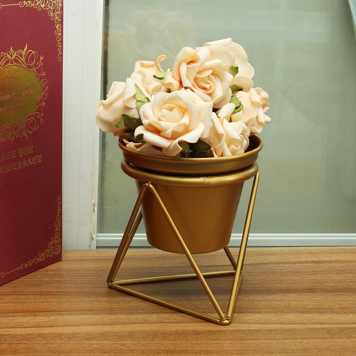 Home Garden Golden Flower Pot Plants Display Stand Planter Desk Rack Shelves Organizer