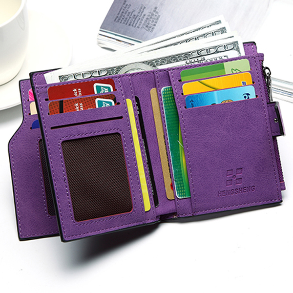 Women Candy Color Hasp Short Wallet Girls 2 Fold Purse