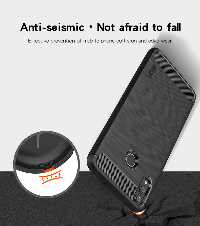 Mofi Carbon Fiber Pattern Shockproof Soft TPU Back Cover Protective Case for Huawei Honor 8X