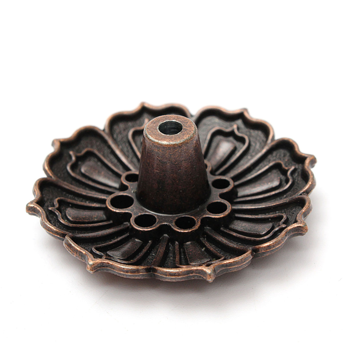 9 Holes Alloy Lotus Flower Incense Burner Holder Plate