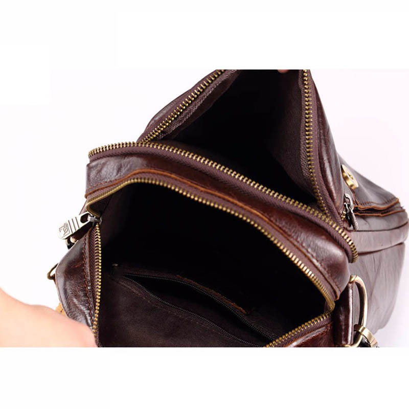 Men Genuine Leather Messenger Bags Fashion Crossbody Bag