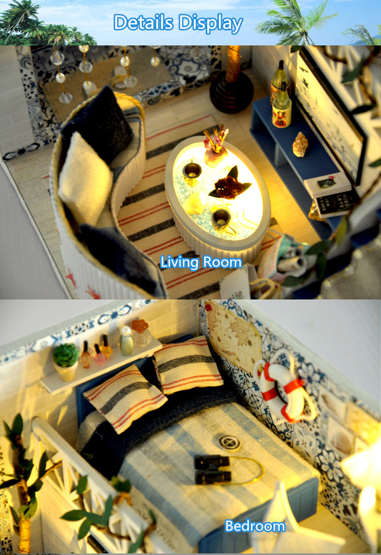 T-Yu TD7 Romantic Sea Greeze Dream DIY Dollhouse With Cover Light Miniature Model Collection Gift