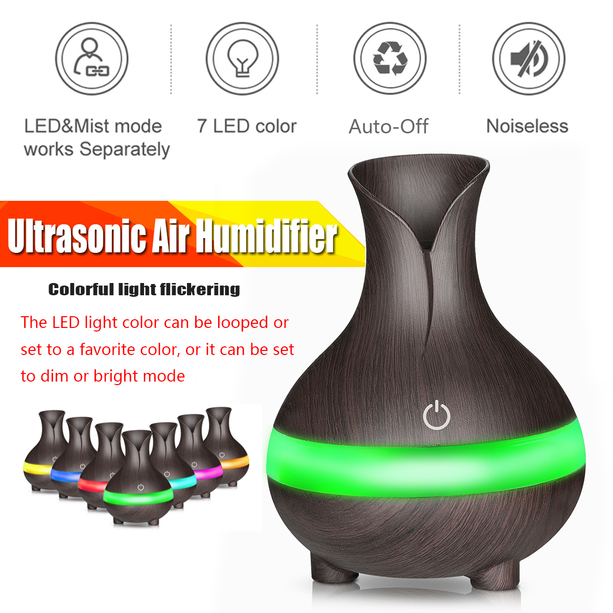 Wood Grain Humidifier Ultrasonic Aroma Essential Oil Air Diffuser USB Cool Mist Humidifier