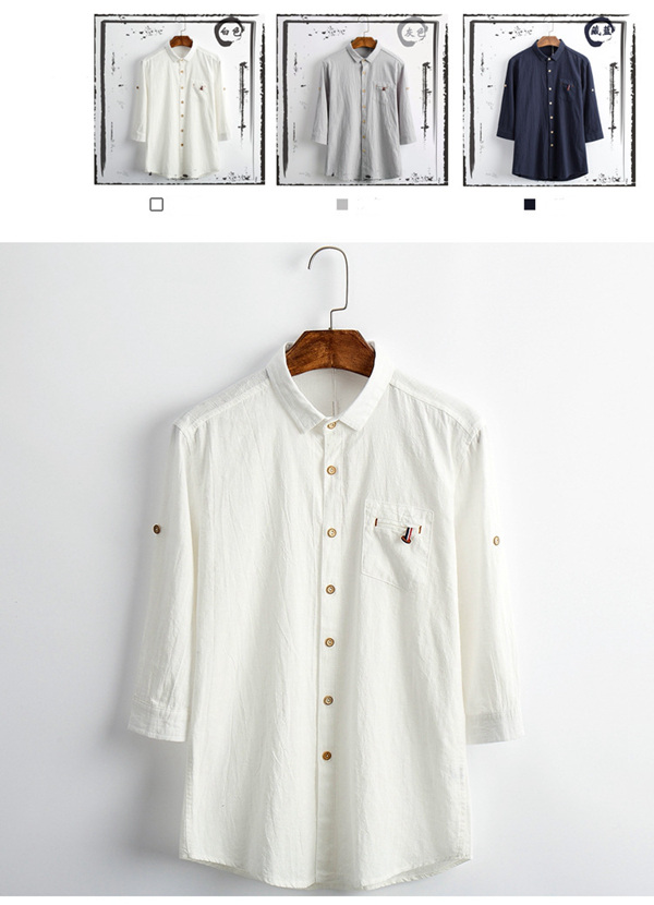 Half Sleeve Cotton Linen Chinese Style Pure Color Men Casual Shirt