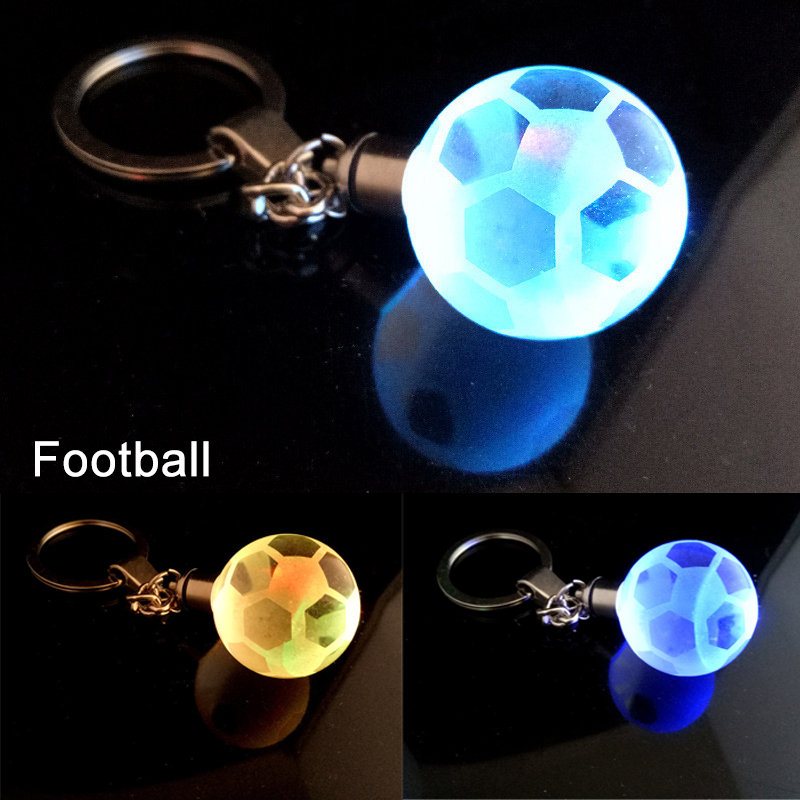 Crystal Ball LED Keychain Creative Mental Football Pendant