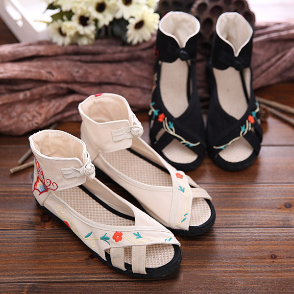 Mary Janes Chinese Embroidered Buckle Flat Sandals Butterfly Pattern Linen Shoes