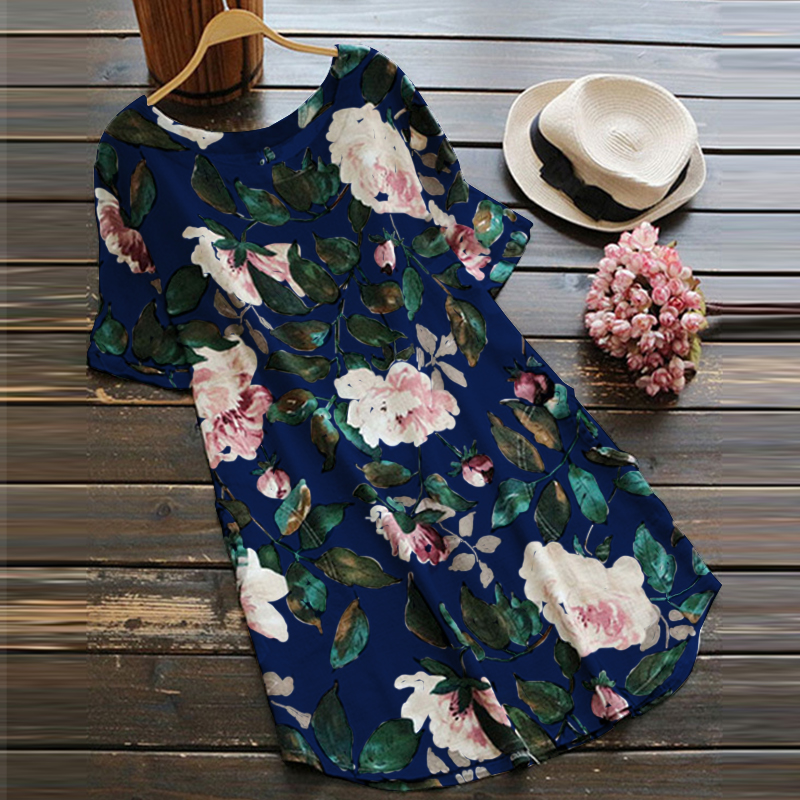 Women Short Sleeved Floral Print Cotton Shirt Mini Dress