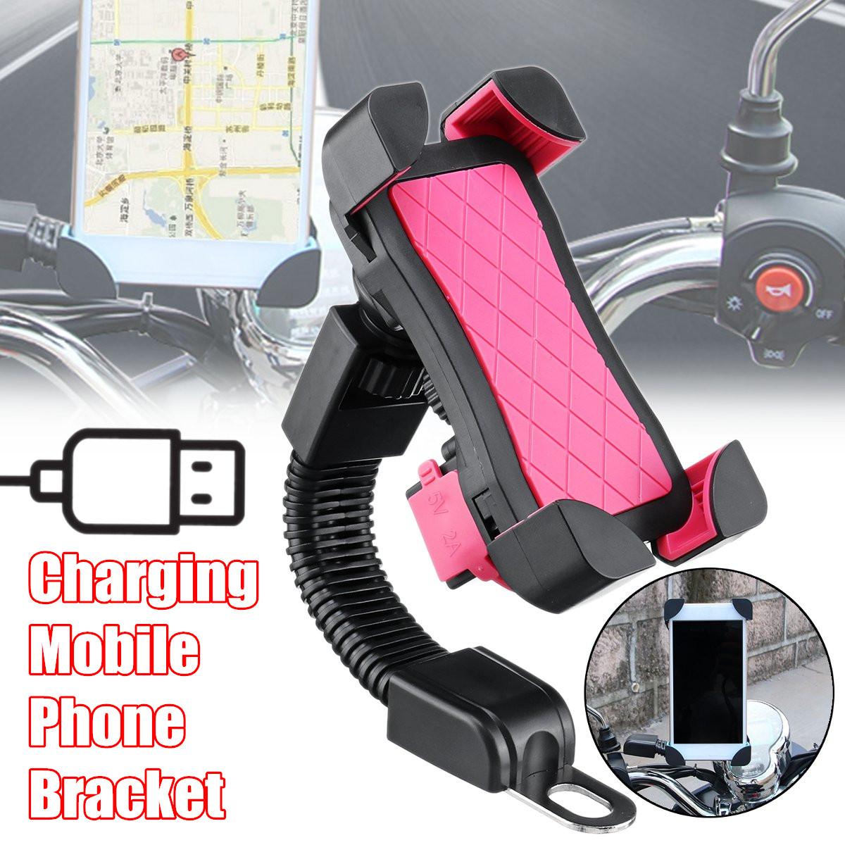 3.5-7inch Mobile Phone Houlder Bracket 2.1A USB Charger Motorcycle Mount Charging Chip