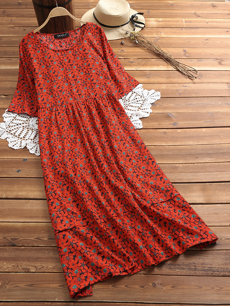 Vintage Half Sleeve O-neck High Waist Floral Maxi Dress