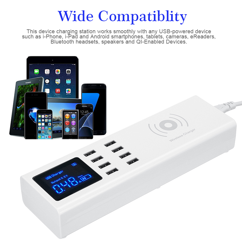 Universal UK/US/EU 8 Port USB Charger Station With Wireless Charger For Tablet Cellphone