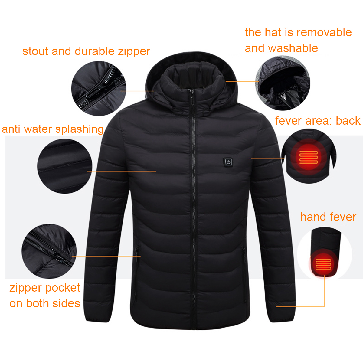 Men's Intelligent Heating USB Hooded Heated Work Jacket Coats Adjustable Temp