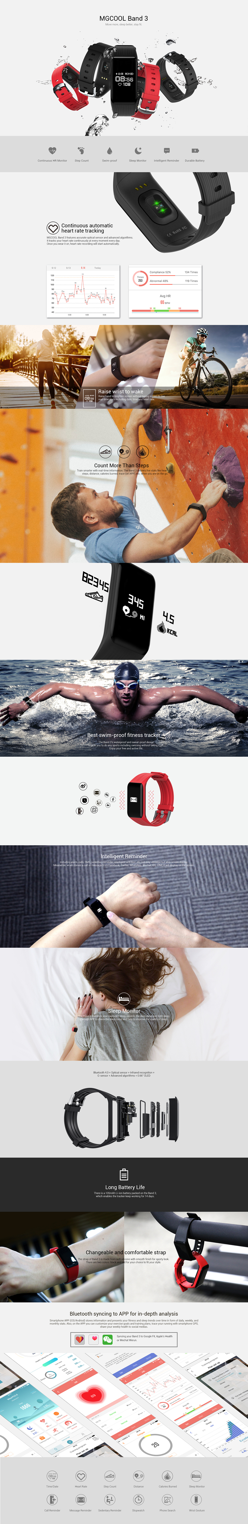 MGCOOL Band 3 0.66inch OLED Heart Rate Monitor Pedometer Smart Bracelet For iphone X Samsung Xiaomi