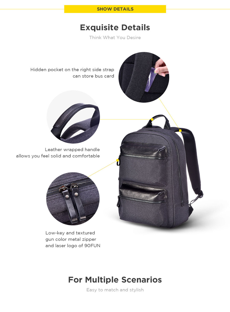 Xiaomi 90FUN Business Travel Backpack 14inch Laptop Bag Waterproof Daypack Leather Pocket