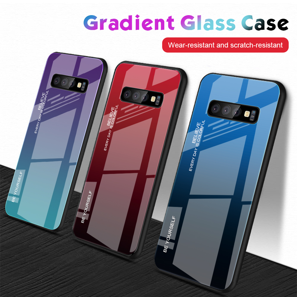 Bakeey Gradient Tempered Glass Protective Case For Samsung Galaxy S10e S10 S10 Plus Scratch Resistant Back Cover