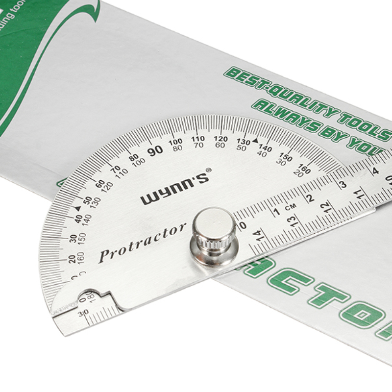 Wynns W0262A 90X150MM 180 Degree Stainless Steel Protractor Round Angle Ruler Tool