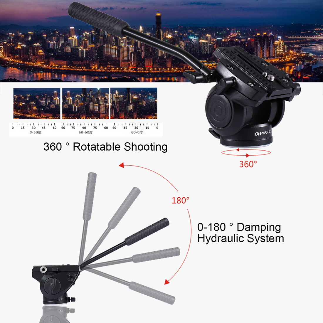PULUZ PU3504B Heavy Duty Video Camera Tripod Action Fluid Drag Head with Sliding Plate