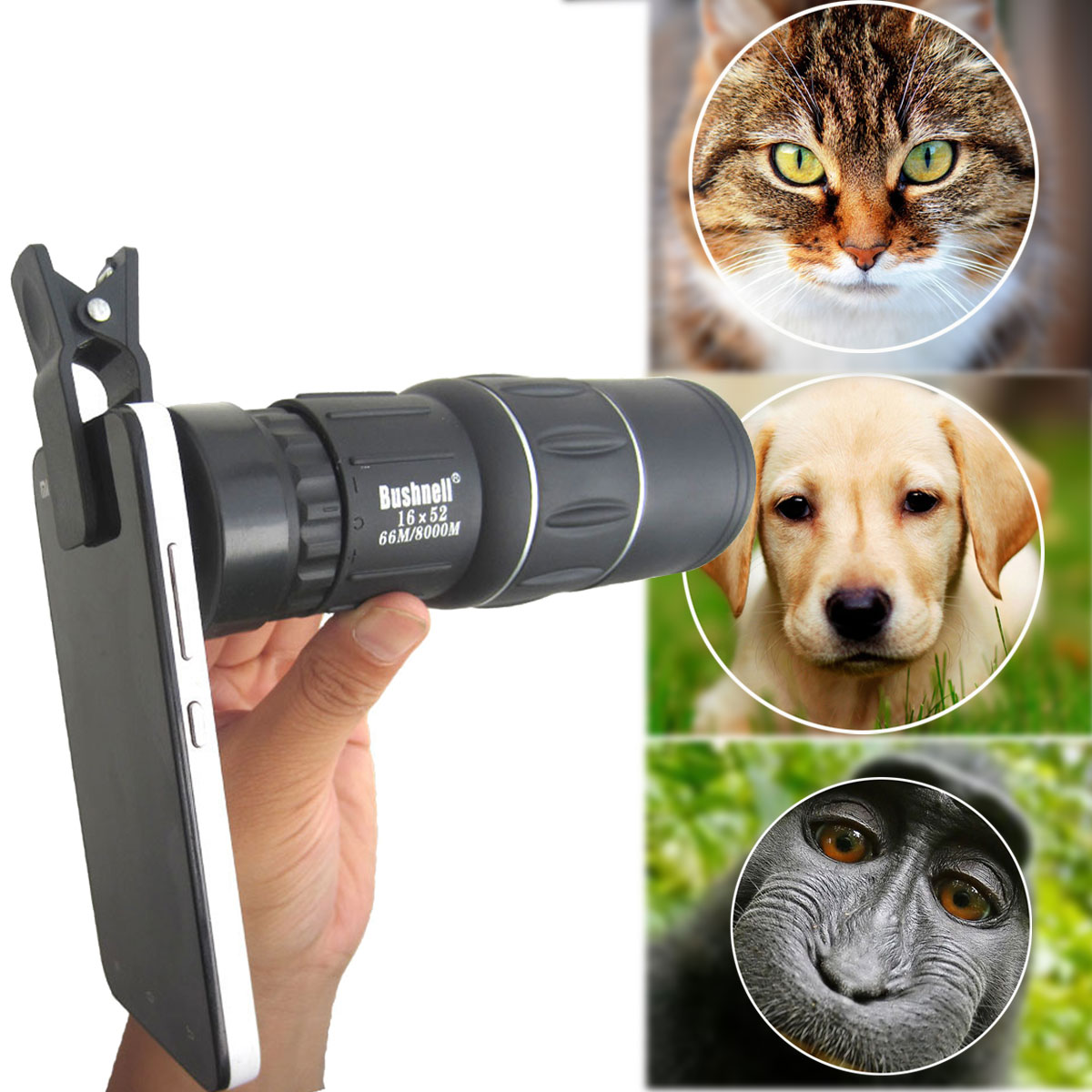 16x52 Hiking Concert Camera Lens Telescope Monocular +Universal Clip For Smartphone