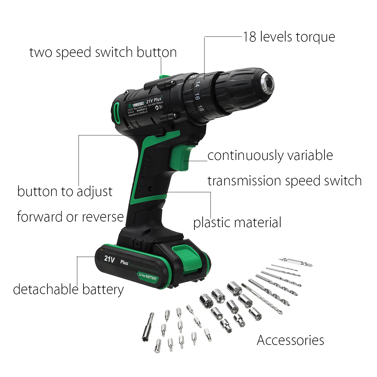 21V 1.5Ah Li-ion Cordless Electric Hammer Power Drills 2-Speed Power Screwdriver with 2 Battery