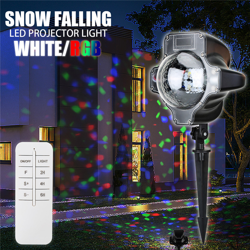 3W Christmas Snow RGB / White LED Projector Snowflakes Stage Light Home Garden Decor AC220V