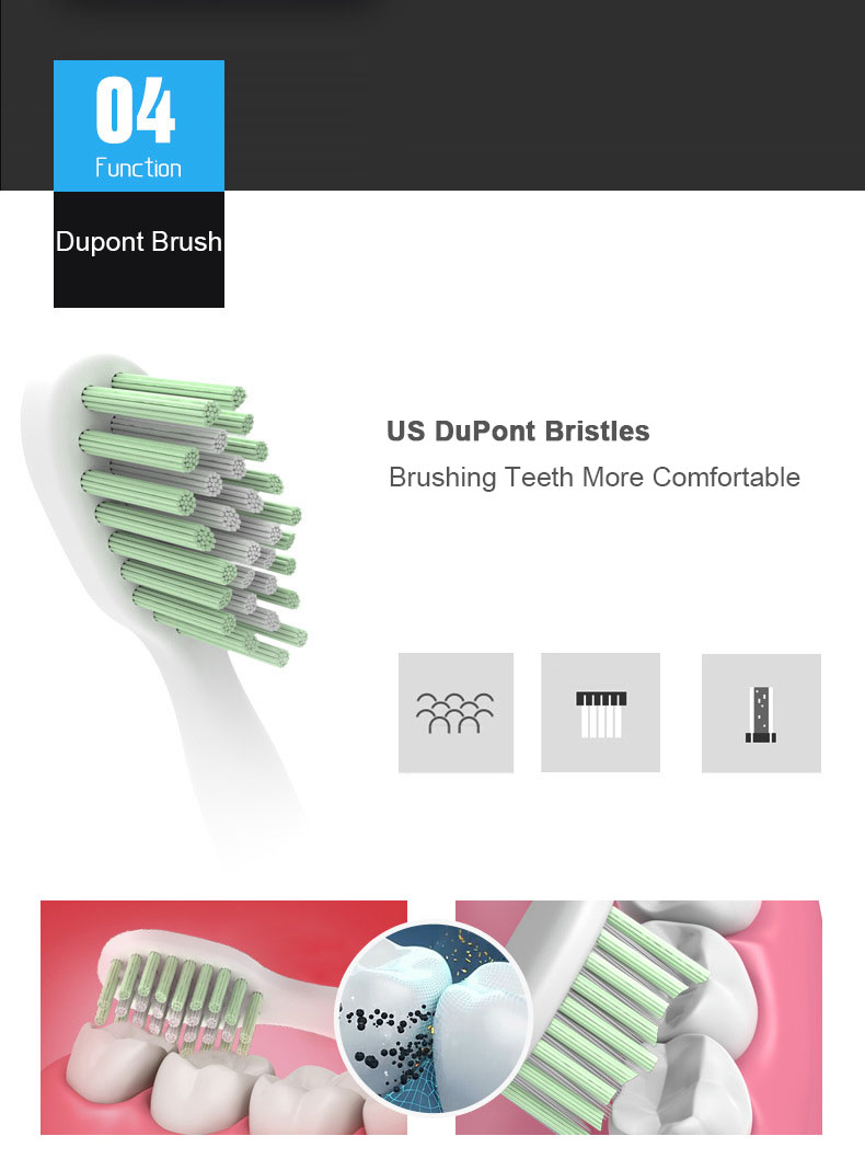 Langtian LT-Z18 Ultrasonic Sonic Electric Toothbrush IPX7 Waterproof with 4 Pcs Replacement Brush Heads No Charge Last For 1 Year