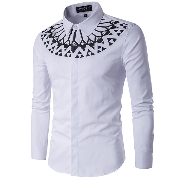 Fashion Printing Slim Fit Long Sleeve Men White Shirt Plus Size XS-3XL
