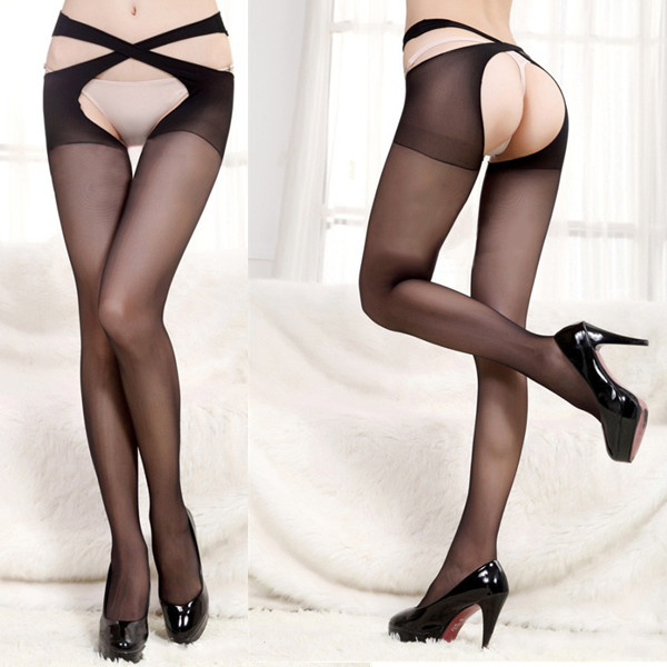 Multi Colors Women Exotic Sexy Open Crotch Cross Belt Stockings Pantyhose