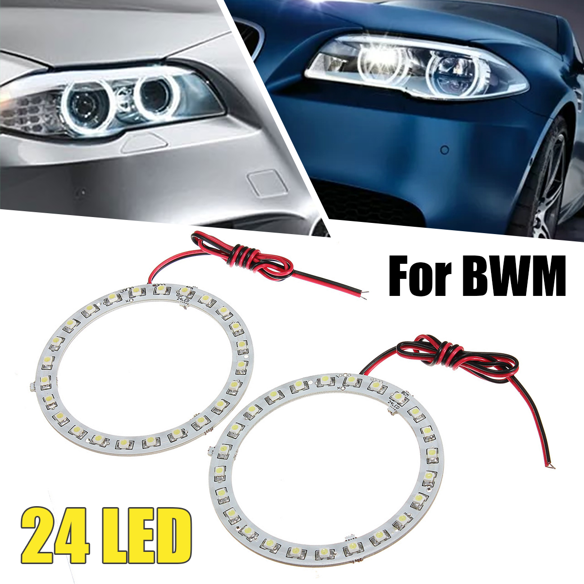 Pair 80mm 12V White Angel Eyes Lights Headlight for BMW 24SMD LED Ring Car Light