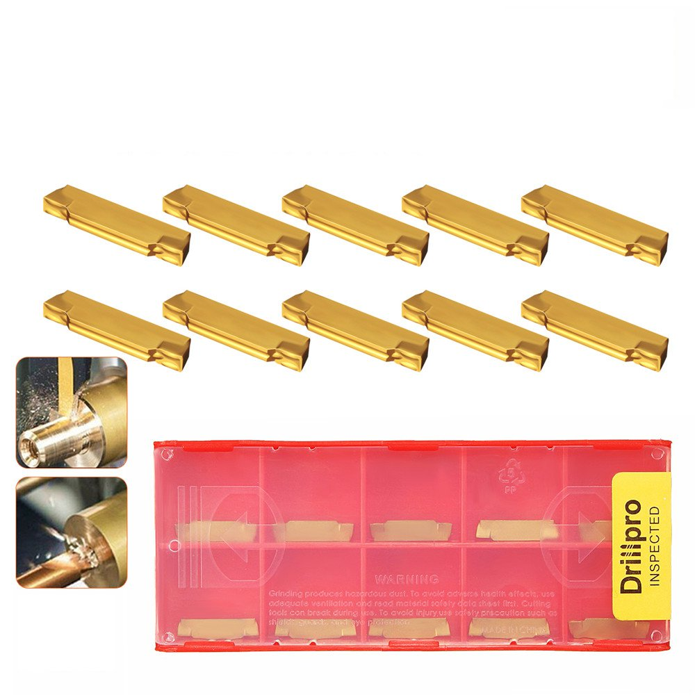Drillpro 10pcs MGMN200-G 2mm Carbide Inserts for MGEHR/MGIVR Grooving Cut Off Tool Turning Tool