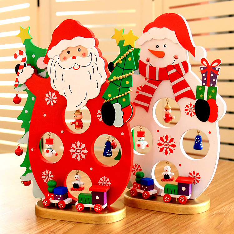 Christmas 2017 DIY Cartoon Wooden Santa Claus Ornament Table Desk Decoration Christmas Gifts