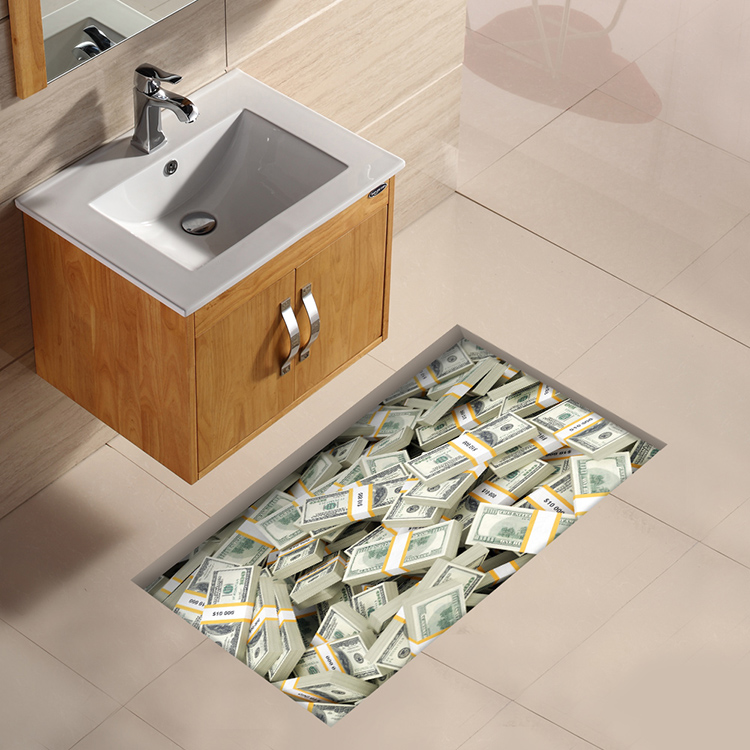 PAG 3D Bathroom Waterproof Euro Pattern Floor Sticker Anti Slip Washable Shower Room Decor