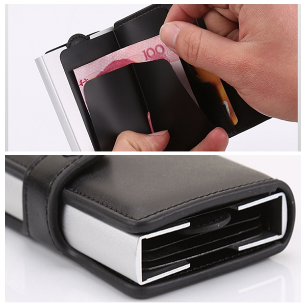 Men Women Automatic Wallet RFID Antimagnrtic Card Holder
