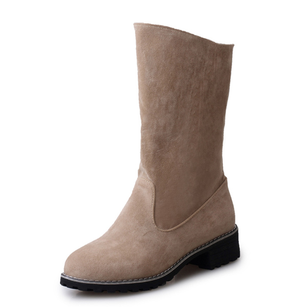 Pure Color Slip On Round Toe Mid Calf Boots For Women