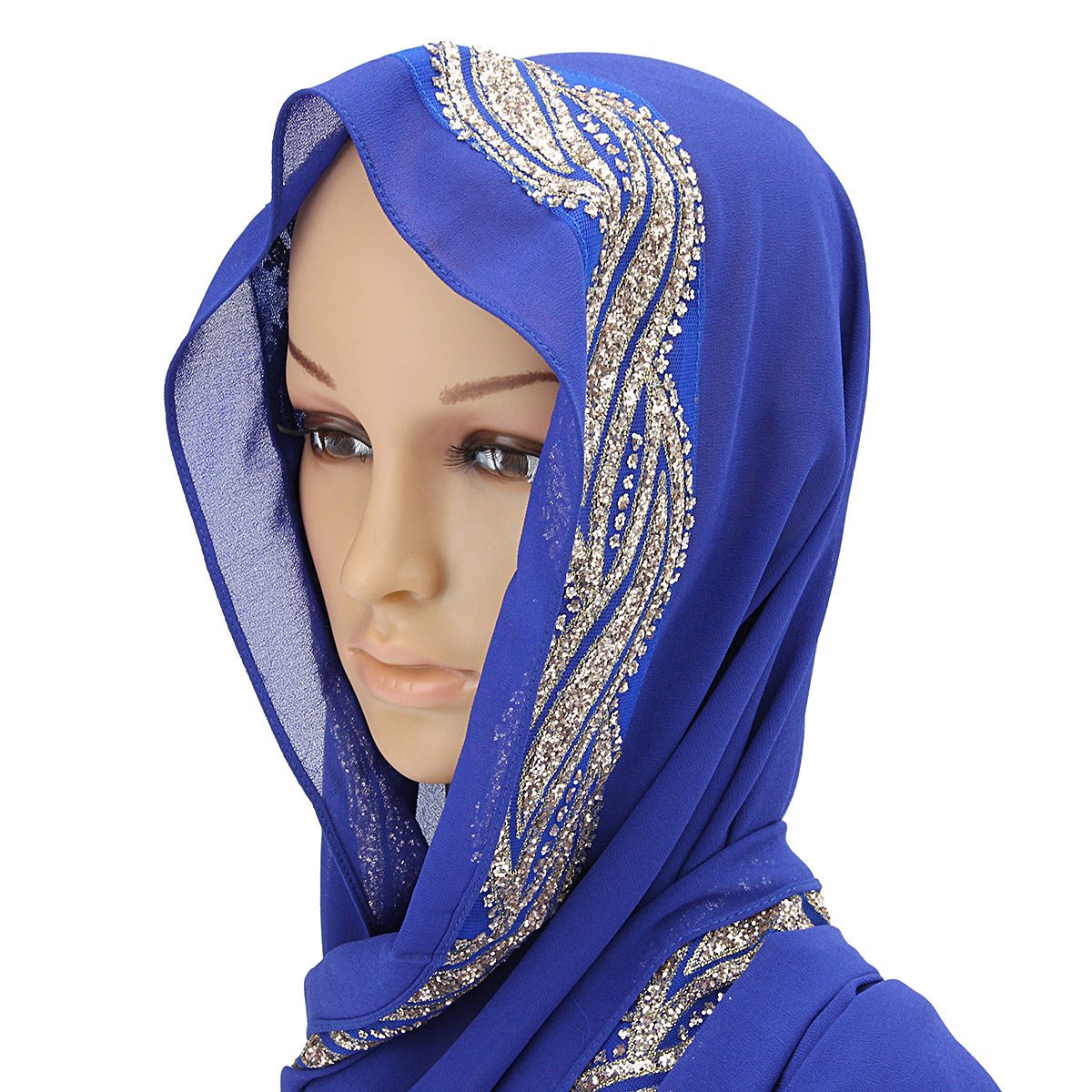 Women Sequin Lace Shawls Islamic Hijab Long Scarf Headwear