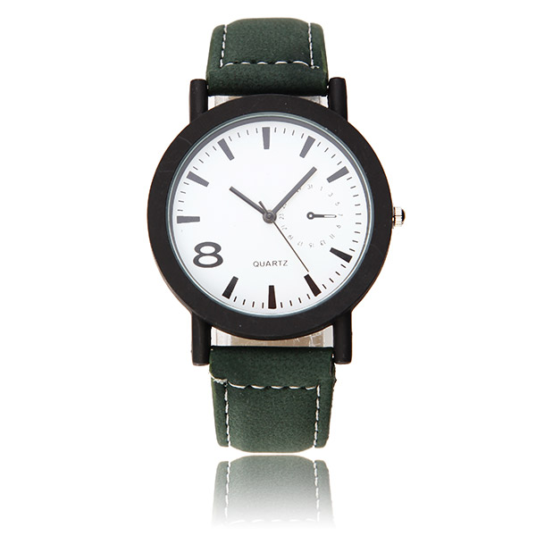 Casual Fashion Black Color Case PU Leather Band Analog Men Women Quartz Watch