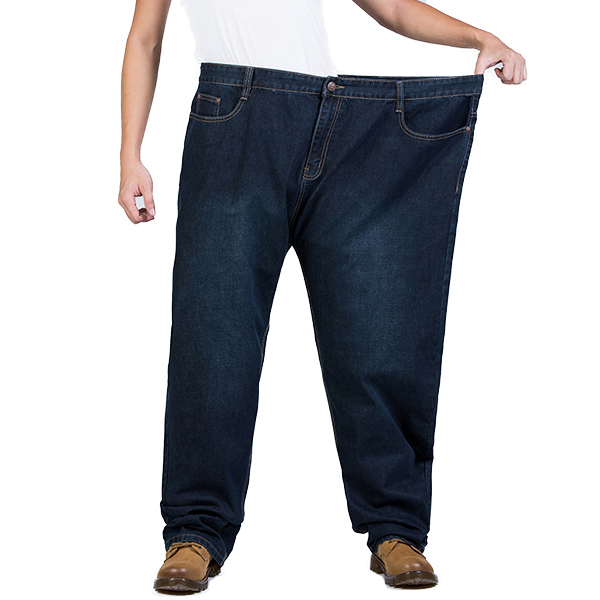 Mens Big Size Business Casual Straight Legs Mid Waist Jeans