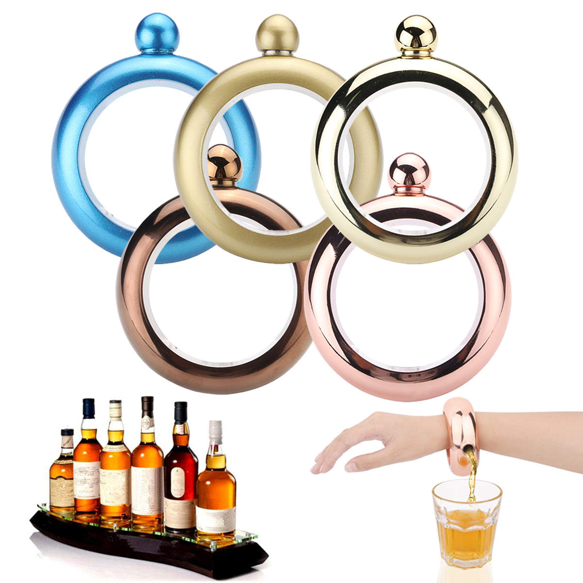 Bracelet Bangle Flask Drinking Stainless Steel Whiskey Hidden Hip Flasket Jewelry Gadget