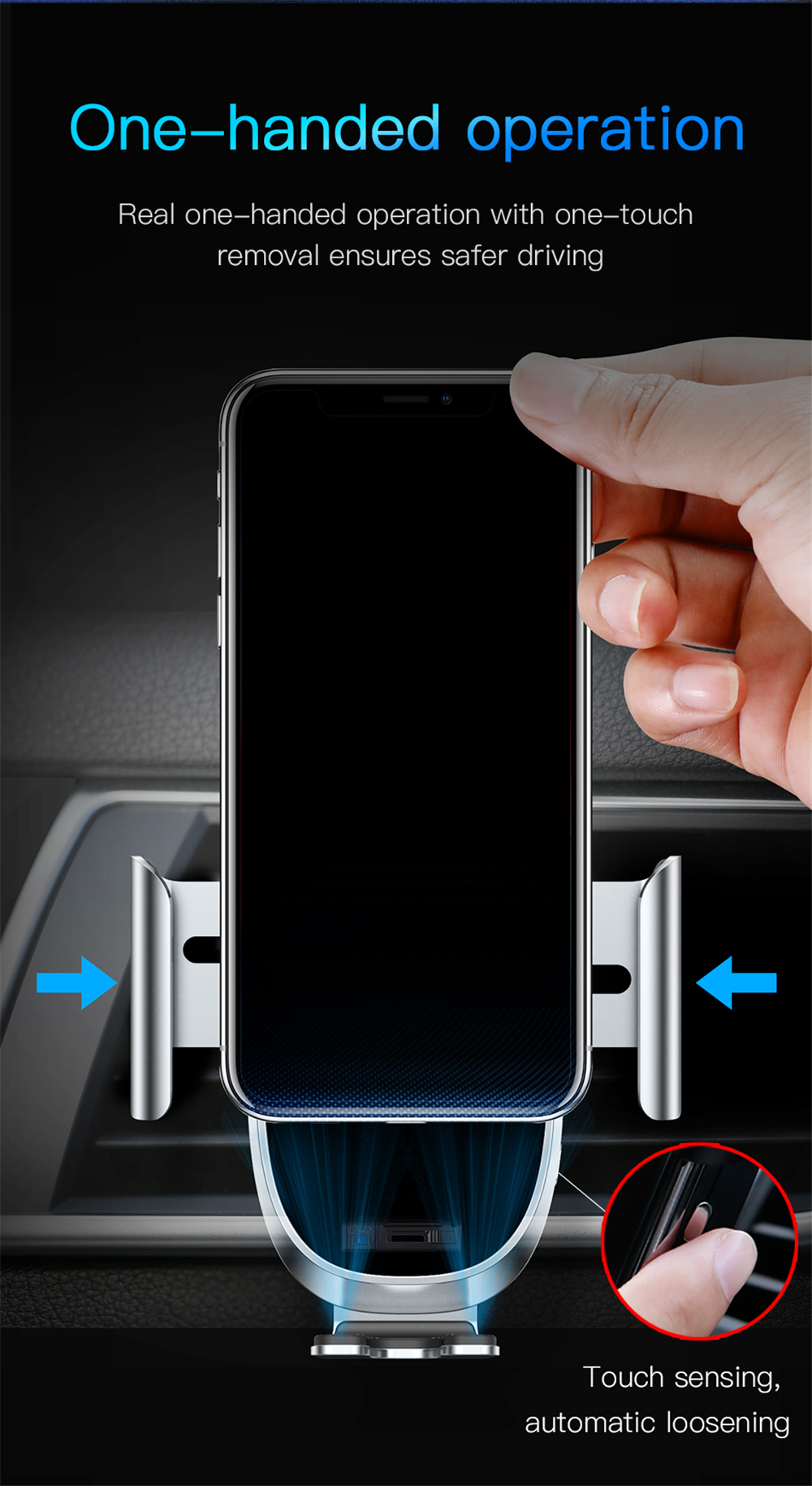 Baseus Car Phone Holder Intelligent Sensing for iPhone XS Max Gravity Auto Lock Air Vent Mount