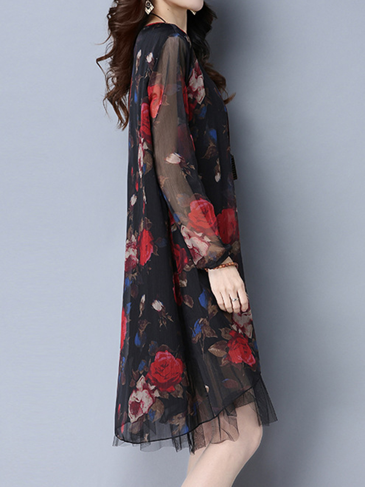 Vintage Women Fake Two Pieces Floral Printed Long Sleeve O-Neck Dresses
