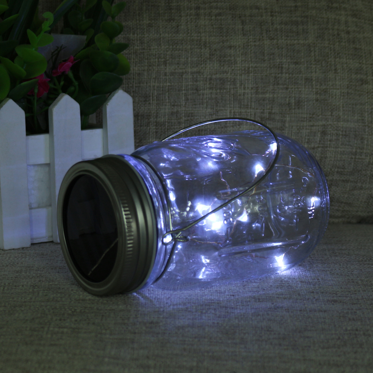 10 LED Solar Glass Hanging Rope Jar Light Lamp Outdoor Garden Table Decor